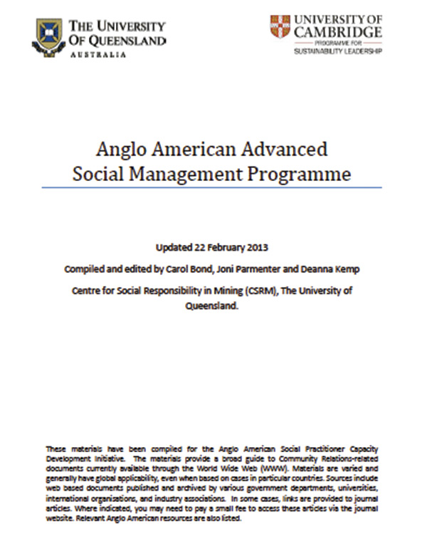 Anglo American Advanced Social Management Programme: Resource Library