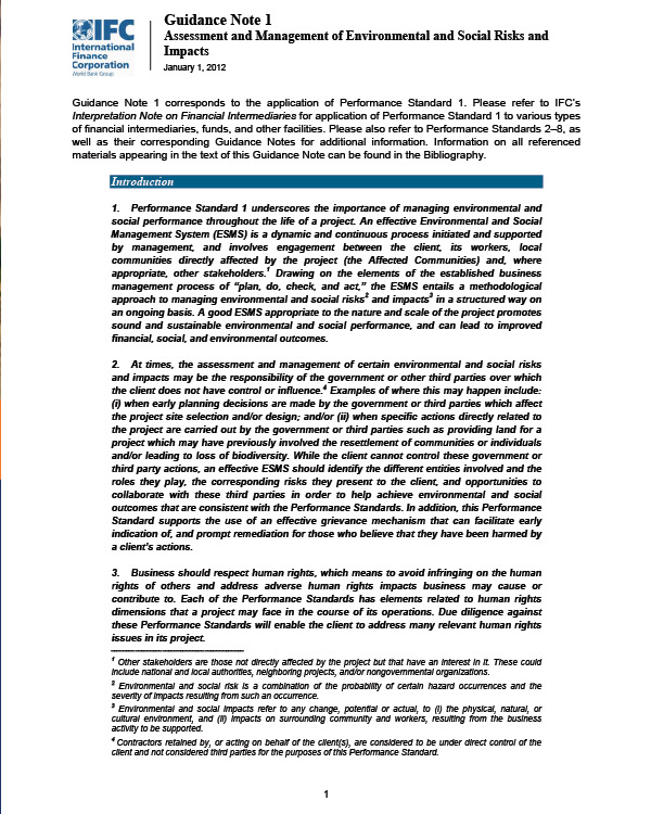 IFC 2012 Guidance Note 1: Assessment and Management of Environmental and Social Risks and Impacts