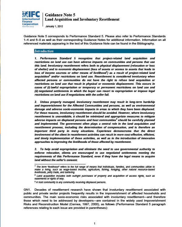 IFC Guidance Note 5: Land Acquisition and Involuntary Resettlement