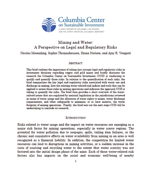 Mining and Water: A Perspective on Legal and Regulatory Risks
