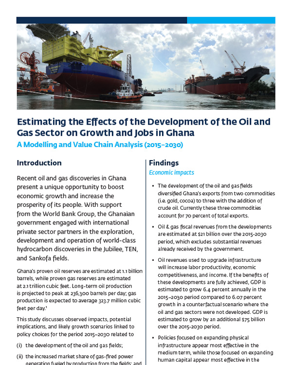 Estimating the Effects of the Development of the Oil and Gas Sector on Growth and Jobs in Ghana (2015–30): A Modelling and Value Chain Analysis