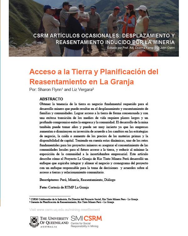 [Spanish Version] Acceso a la Tierra y Planificacion del Reasentamiento en La Granja