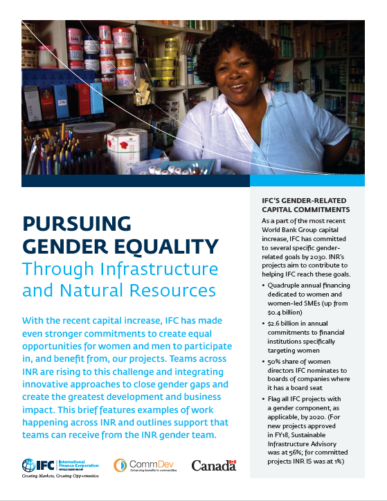 Pursuing Gender Equality Through Infrastructure and Natural Resources