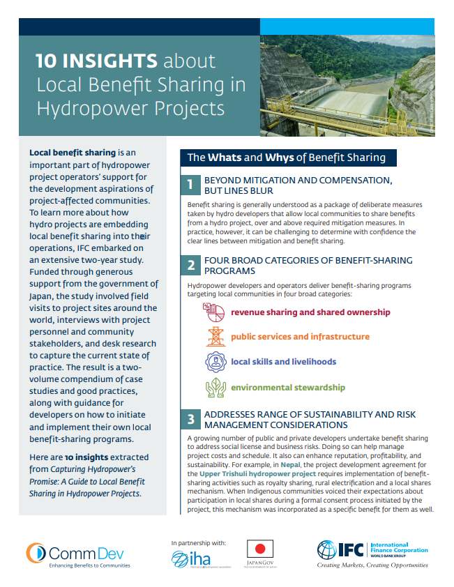 10 Insights about Local Benefit Sharing in Hydropower Projects